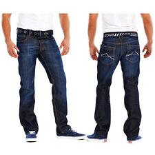 MENS STRAIGHT LEG JEANS/PANTS WITH FREE BELT SIZES WAIST 30-36 SHORT REG LONG