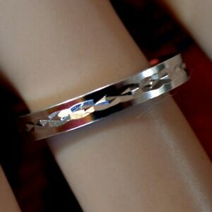 SILVER second hand diamond cut band ring