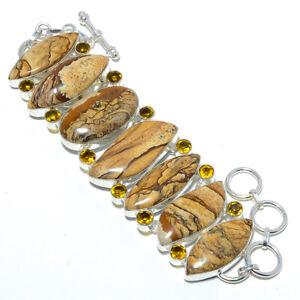 """Picture Jasper - Oregon & Citrine 925 Sterling Silver Ethnic Bracelet 7-7.99"""" A2"""