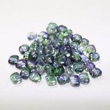 50 Purple/Green, Two Tone Rectangular Czech Glass Beads size 8mm