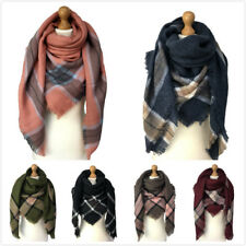 New Ladies Oversized Shawl Womens Square Neck Wrap Tartan Style Scarves Snood