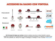 Set 9 Accessori da Bagno con Ventosa in Plastica