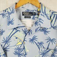 POLO RALPH LAUREN XL Mens Short Sleeve Blue Hawaiian Button Down Camp Shirt