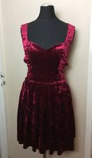 Topshop Dress Up Red Velvet Cut Out Heart Back Skater Dress 10  Xmas