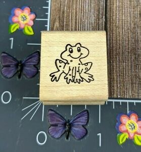 Morning Star Happy Frog Toad Rubber Stamp Wood Mount #G38