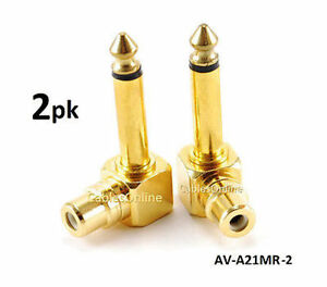 """2-PACK RCA Female Jack to 1/4"""" Mono Male Plug Right Angle Gold Audio Adapter"""