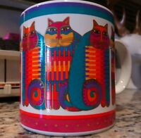 VTG 80's 1988 Laurel Burch Rainbow Cat Cousins Animals Coffee Mug Cup