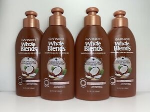 4 Garnier Whole Blends Smoothing Leave-in Conditioner, Frizzy Hair, 5.1 oz. Each