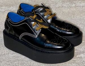 DIESEL D Cage LC Black Yellow White Platform 3 Eye Oxford Shoes NEW Womens 6.5
