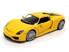 WELLY 1/24 DISPLAY PORSCHE 918 SPYDER HARDTOP Diecast Car Yellow 24055H-4D