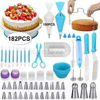 182PC Cake Decorating Tools Icing Piping Nozzles Bag Turntable Flower Baking Kit
