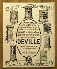 PUBLICITE POELE A BOIS DEVILLE  advertising 1924