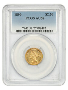 1890 $2 1/2 PCGS AU58 - Low Mintage Date - 2.50 Liberty Gold Coin