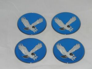 "4 - BLUE 2.75"" / 70mm DIA EAGLE BIRD LOGO WHEEL RIM CENTER CAP ROUND STICKER"