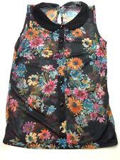 ladies Size 8 Black Foral Summer Top Ladies Sheer Top Clothes Ref: 100
