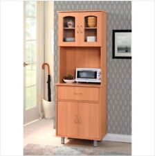 Microwave Stand With Storage Freestanding Cabinet Pantry Cupboard Beech Modern