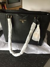 Michael Kors Mae Black Pebbled Leather Tote Bag 100% Genuine See Receipt New