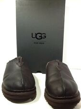 UGG Australia Mens Neumann Size 10 China Tea Brown Leather Lined Slippers X2-498