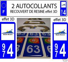 2 STICKERS RECOUVERT DE RESINE PLAQUE IMMATRICULATION DEPARTEMENT REUNION 974
