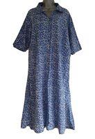 Lily Ella Women's Blue Floral Halfway-Buttoned Summer Shift Dress. Size UK 14.
