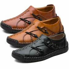 Men Leather Casual Soft Vintage Shoes Breathable Non-Slip Sole Loafers Moccasin