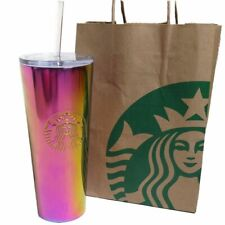 Starbucks Pink Iridescent Cold Cup Lid Straw Tumbler
