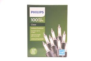 Philips 100 CLEAR  MINI LIGHTS Indoor Outdoor Christmas  CLEAR   FREE SHIPPING
