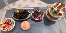 miniature dollhouse lot Food Plates Fruit Cake Desserts Seafood