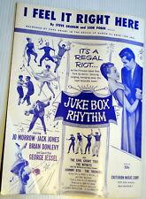 Film Sheet Music I FEEL IT RIGHT HERE Juke Box RHYTHM Jack JONES Criterion 1959