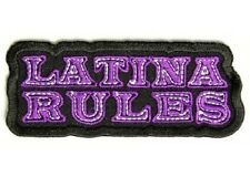 LATINA RULES EMBROIDERED IRON ON BIKER PATCH