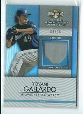 2012 Triple Threads Yovani Gallardo GU JERSEY RELIC 33/36 BREWERS