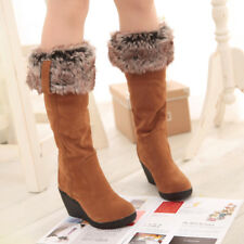 Cuffed Womens Mid Calf Boots Suede Block Heels Winter Warm Cotton Buckle Shoes