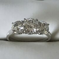 Engagement Ring Triple Stone in Sterling Silver
