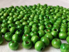 250 x GREEN COLOUR ROUND WOOD JEWELLERY MAKING BEADS BEADS CRAFTS 8mm W0137