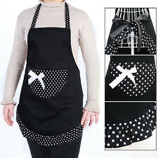 Women's Polka Dot Apron Bowknot Washable Kitchen Cooking Pocket Bib Maid Home w*