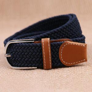 Mens Womens Ladies Elasticated Belts Canvas Stretch Elastic Braided Belt Buckle
