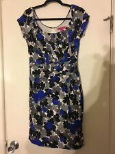 Betsey Johnson Silk Blue Black White Floral Fitted Dress Size 6