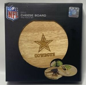 "NEW, NFL'S Dallas Cowboys Team Logo- 7.5"" Brie Cutting Board & Cheese Tools"
