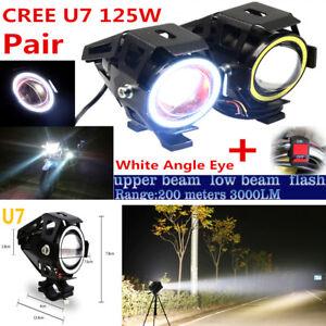 2PC Bulb U7 LED 125W Motorcycle Headlight Driving Fog Light Spot Lamp DRL+Switch