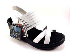 Skechers 31597 White Memory Foam Wedge Platform Slip On Sandals