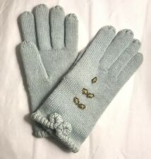 1950s 1960s Gloves Vintage Knitted Baby Blue Wool Beaded New Deadstock