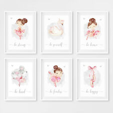 Pink Swan Princess & Ballerina Nursery Wall Art Prints Girl Decor Pictures Gift