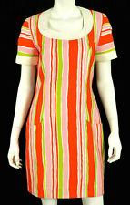 CHRISTIAN LACROIX Vintage White & Multi Striped Cotton Twill Dress 40