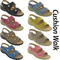 Cushion-Walk Halterback Summer Sandals Twin Strap Open Toe Comfort Ladies UK 3-8