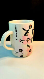 STARBUCKS Coffee Cherry Blossoms Pink Flowers Black Pastel 2017 Mug