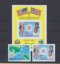 P19 LIBERIA 1976 US 200 YEARS INDEP. IMPERFOR. SET+BLOCK