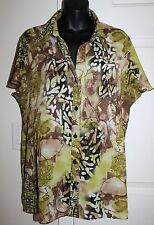 Serenade Woman 2x Crinkle Floral Blouse Split Flutter Sleeves Sheer