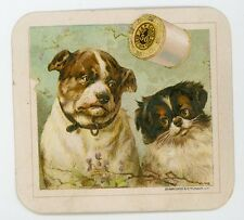 Two pet Dogs J & p Coats Victorian Trade Card Schumacher & Ettlinger
