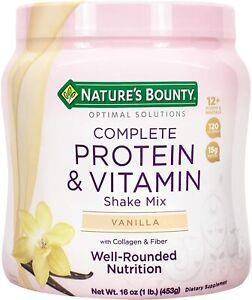 Nature's Bounty Complete Protein & Vitamin Shake Mix with Collagen & Fiber, 16oz