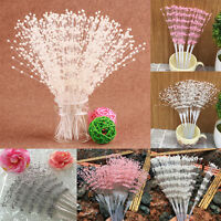 10PCS Pearl Beaded DIY Bridal Bouquets Wedding Party Decor White Pink Silver New